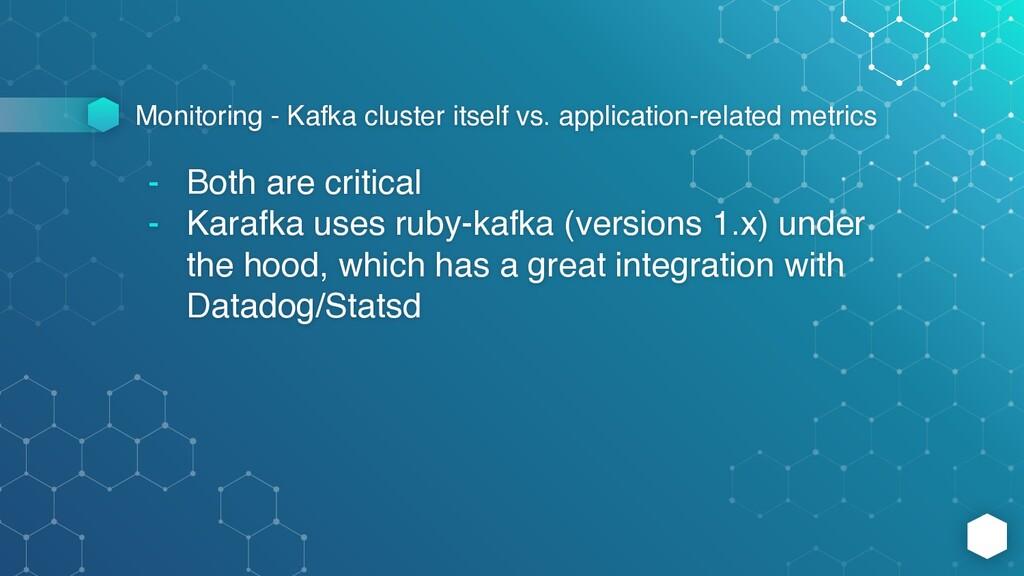Monitoring - Kafka cluster itself vs. applicati...