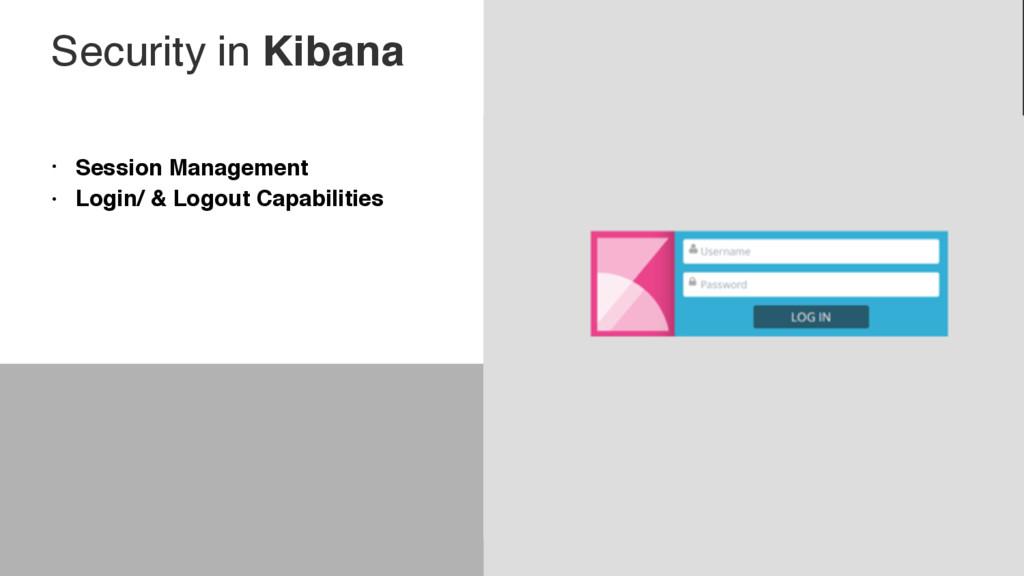 Security in Kibana • Session Management • Login...