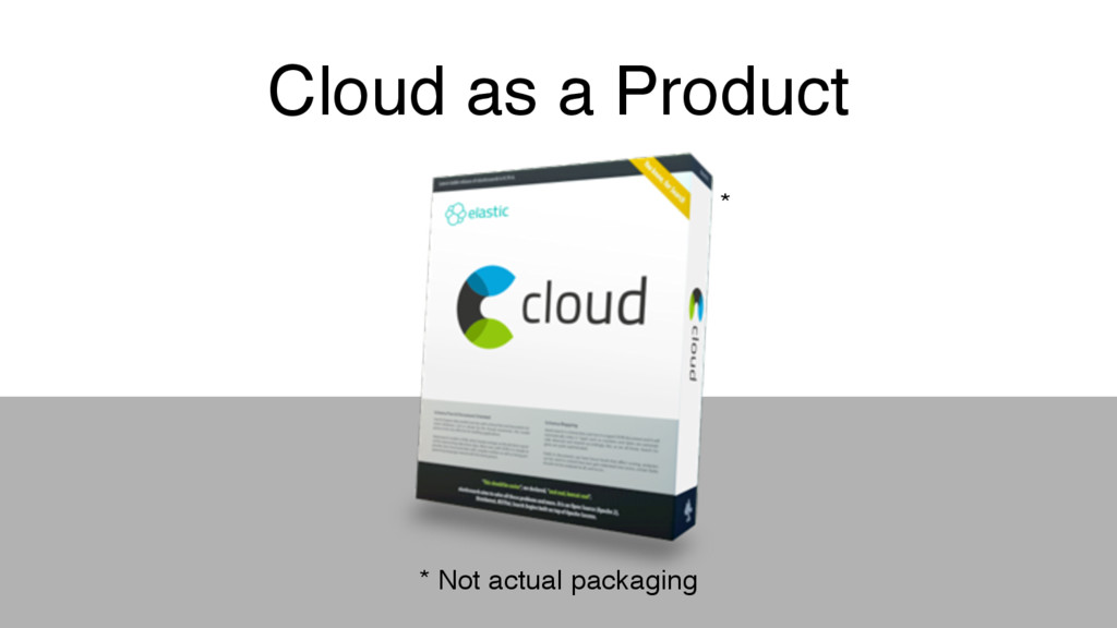 Cloud as a Product * Not actual packaging *