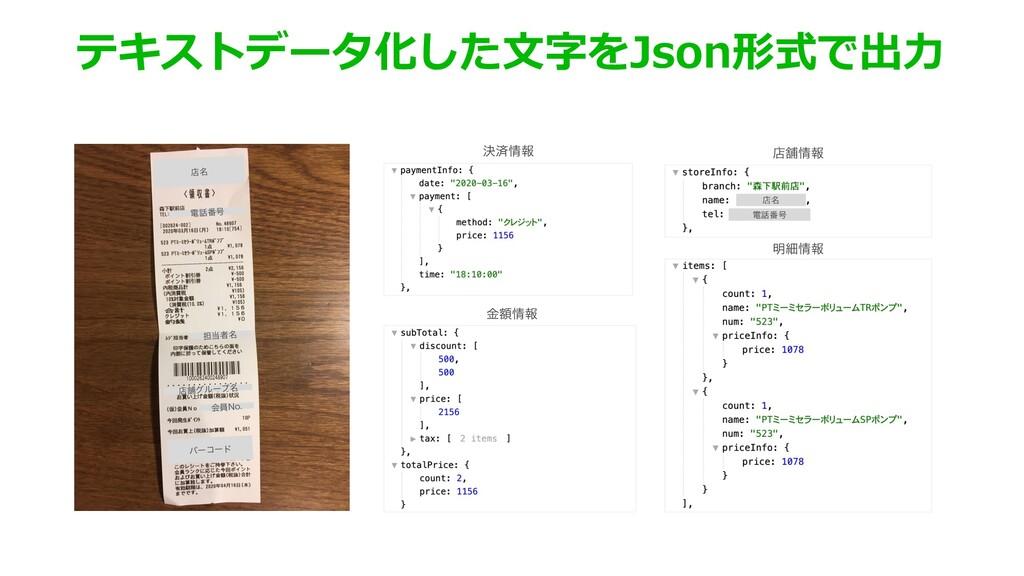 テキストデータ化した⽂字をJson形式で出⼒ ళ໊ ి൪߸ ୲ऀ໊ ళฮάϧʔϓ໊ ձһ/...