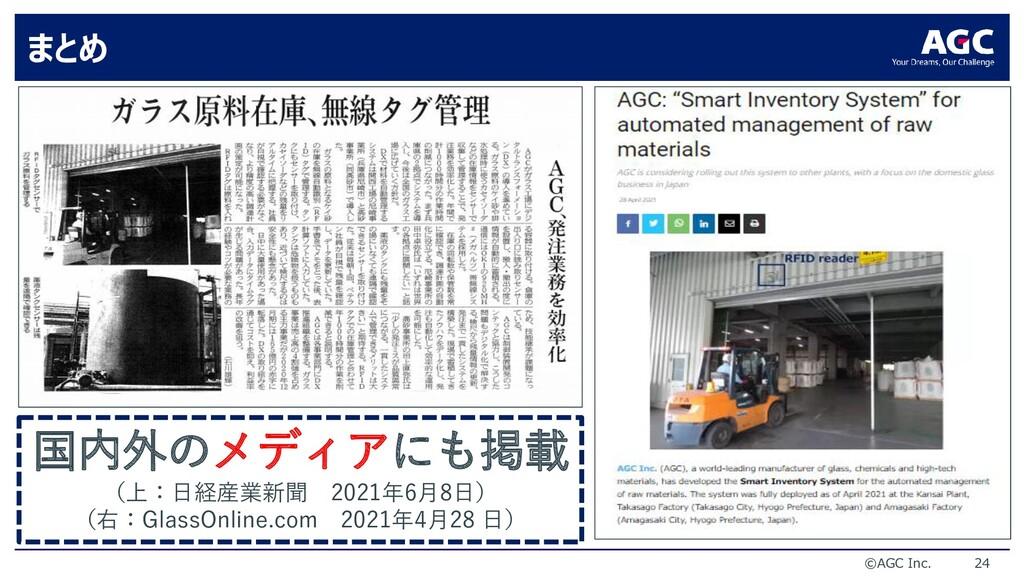 ©AGC Inc. 24 まとめ 国内外のメディアにも掲載 (上:日経産業新聞 2021年6月...