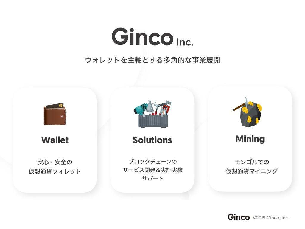 ©2019 Ginco, Inc. Wallet ΥϨοτΛओ࣠ͱ͢Δଟ֯తͳۀల։ So...