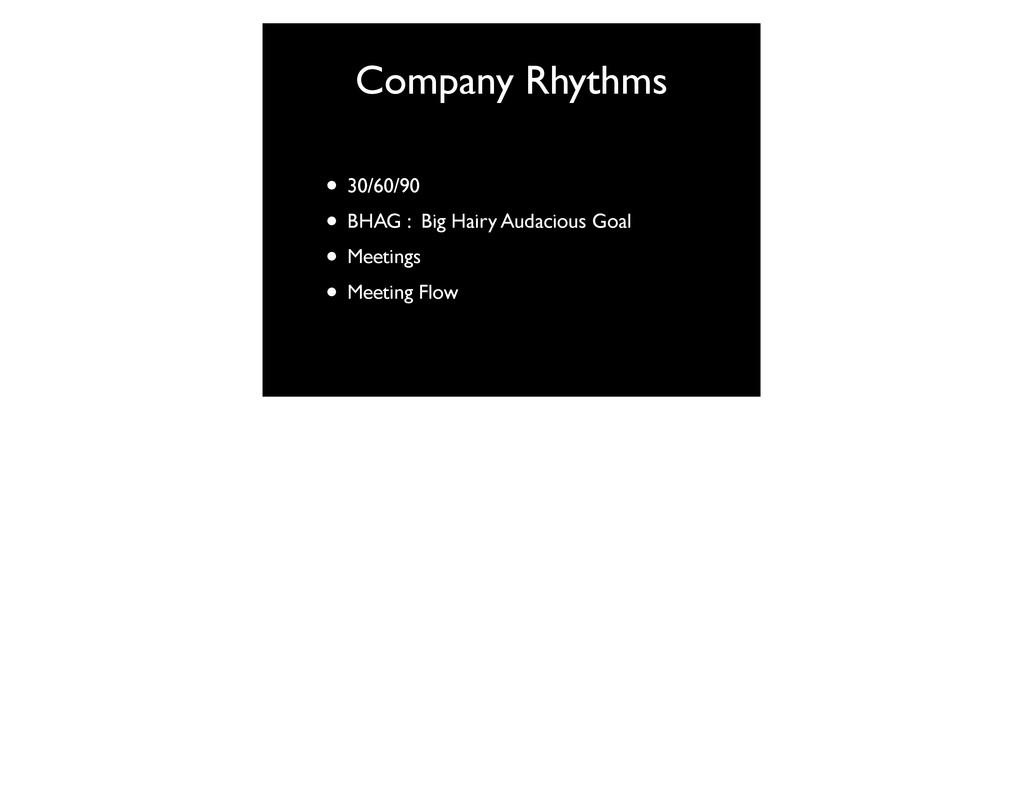 Company Rhythms • 30/60/90 • BHAG : Big Hairy A...