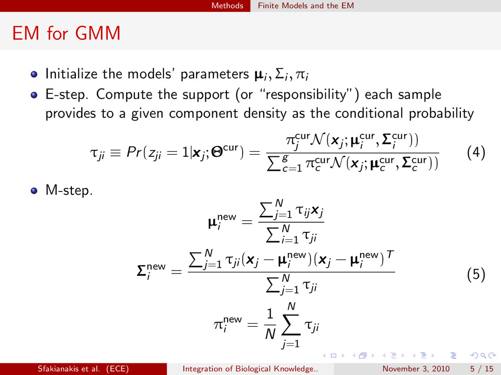 . . . . . . Methods Finite Models and the EM EM...