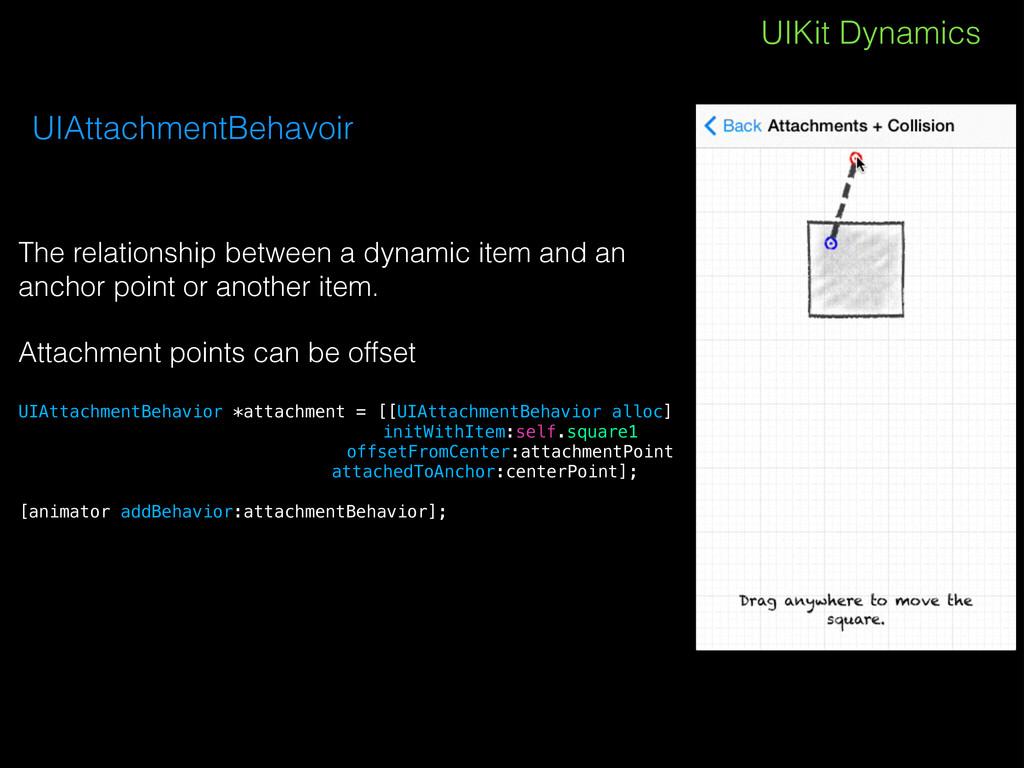 UIKit Dynamics UIAttachmentBehavoir The relatio...