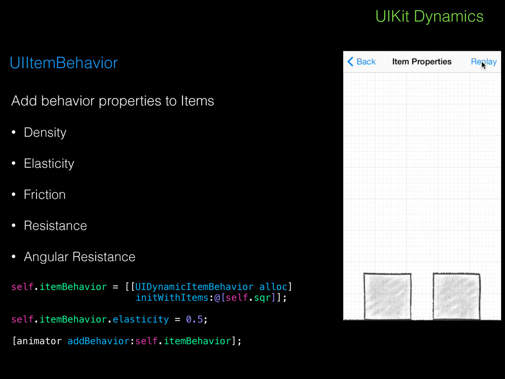 UIKit Dynamics UIItemBehavior Add behavior prop...