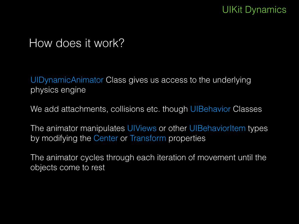 UIKit Dynamics How does it work? UIDynamicAnima...