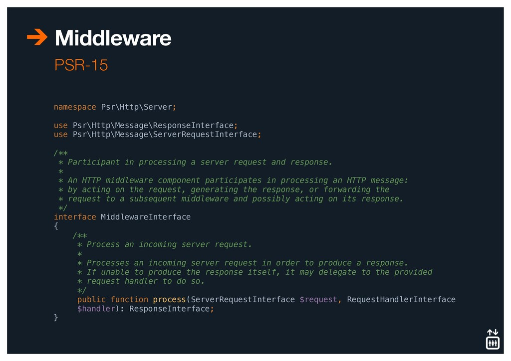 Middleware PSR-15 namespace Psr\Http\Server; us...