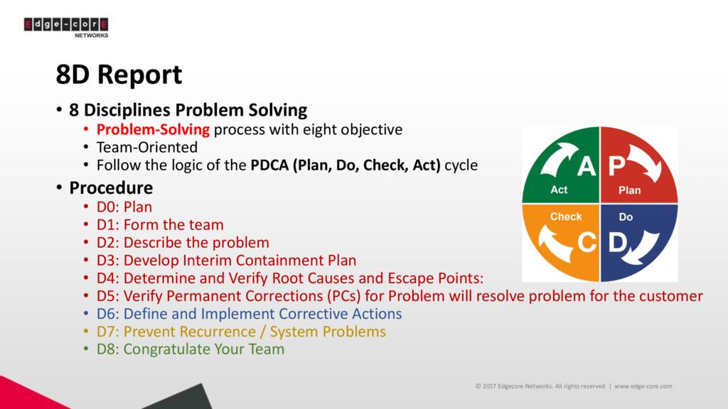 8D Report • 8 Disciplines Problem Solving • Pro...