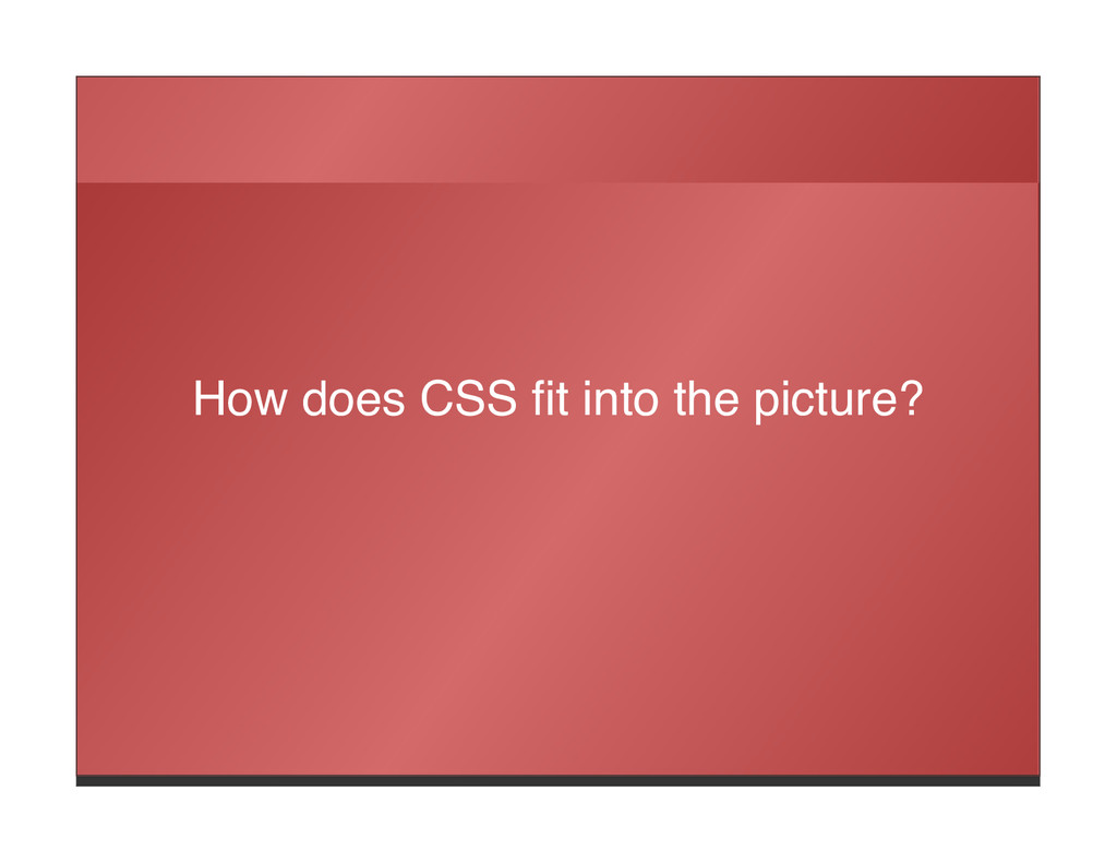 How does CSS fit into the picture?