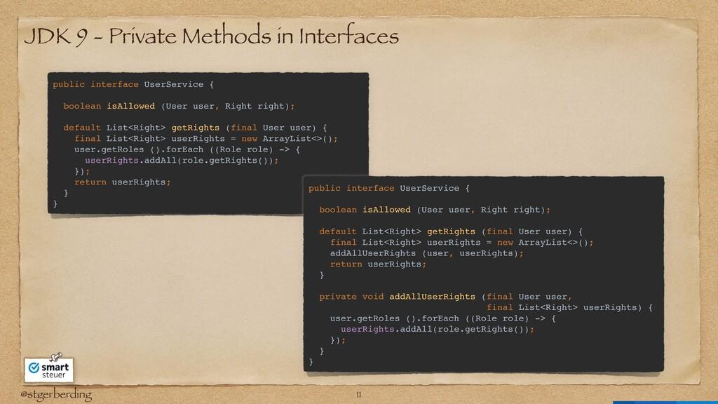 @stgerberding JDK 9 - Private Methods in Interf...