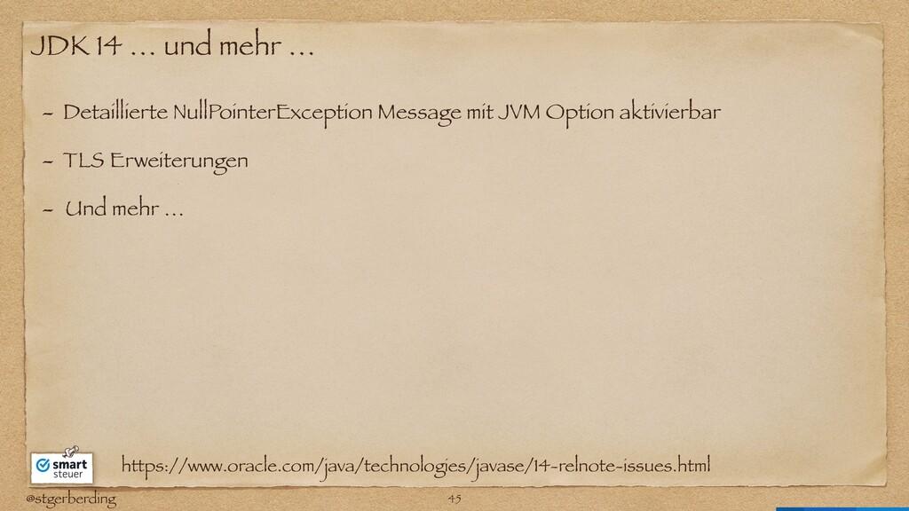@stgerberding JDK 14 … und mehr … - Detailliert...
