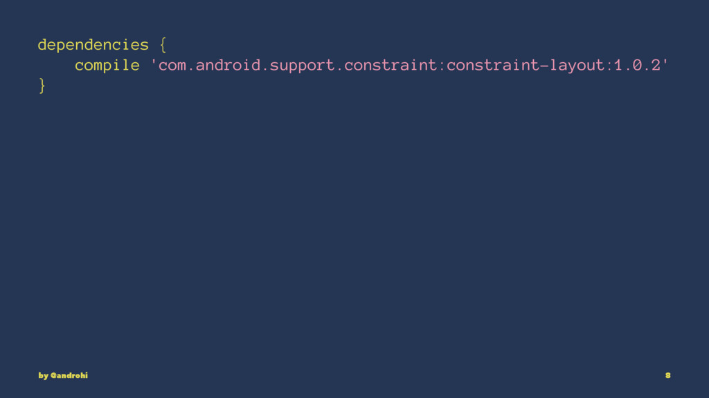dependencies { compile 'com.android.support.con...