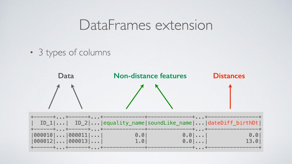 • 3 types of columns DataFrames extension +----...