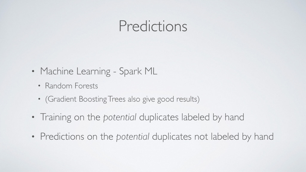 Predictions • Machine Learning - Spark ML • Ran...
