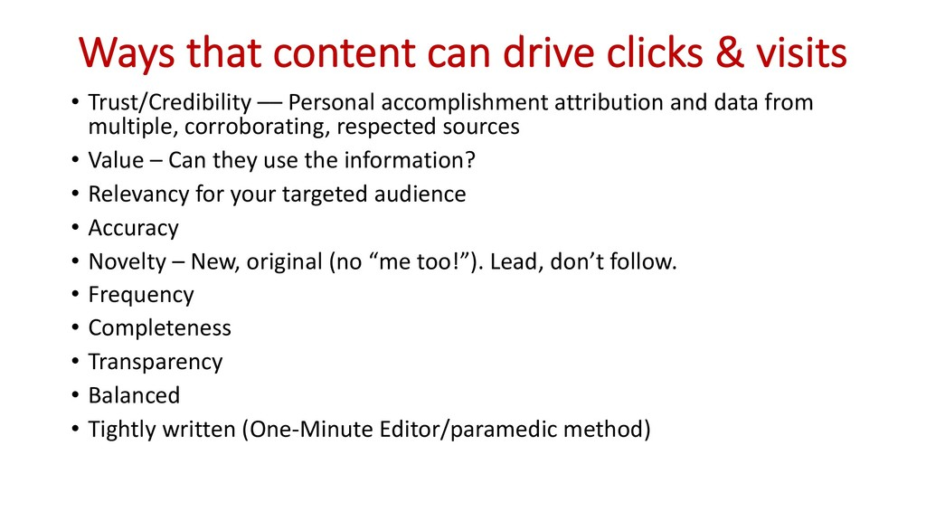 Ways that content can drive clicks & visits • T...