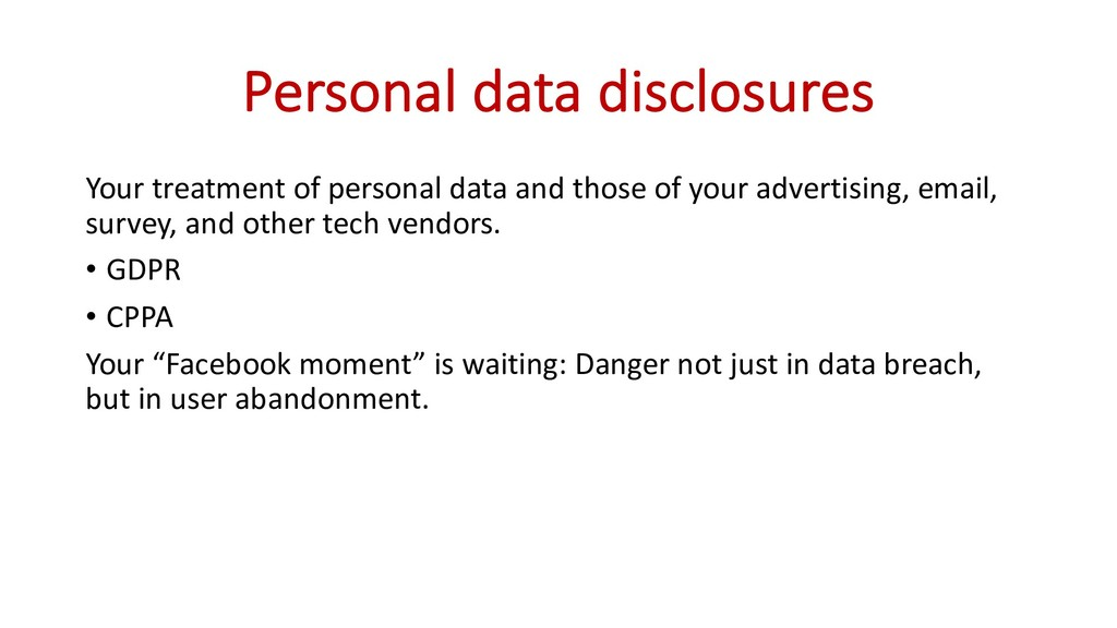 Personal data disclosures Your treatment of per...