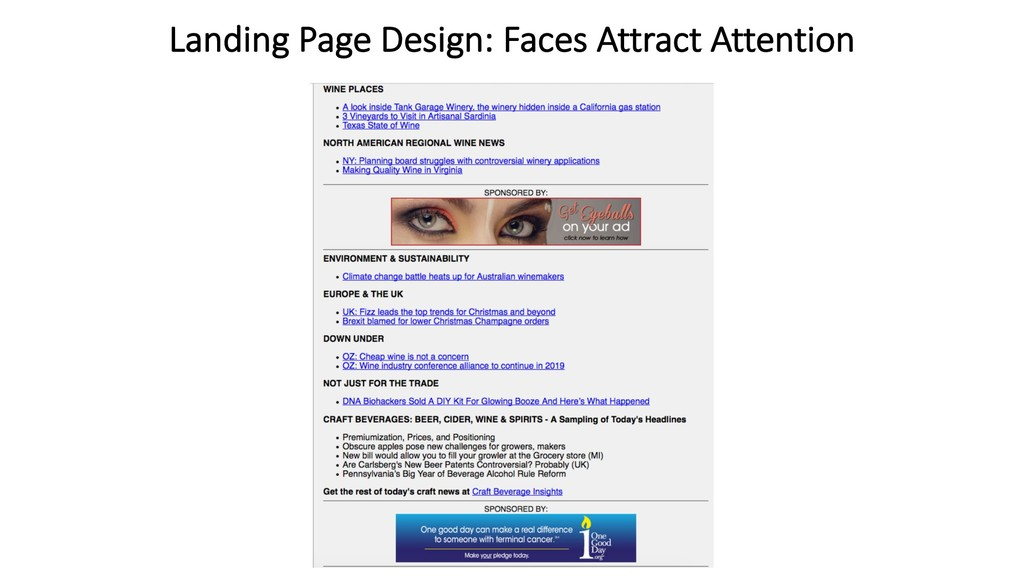 Landing Page Design: Faces Attract Attention