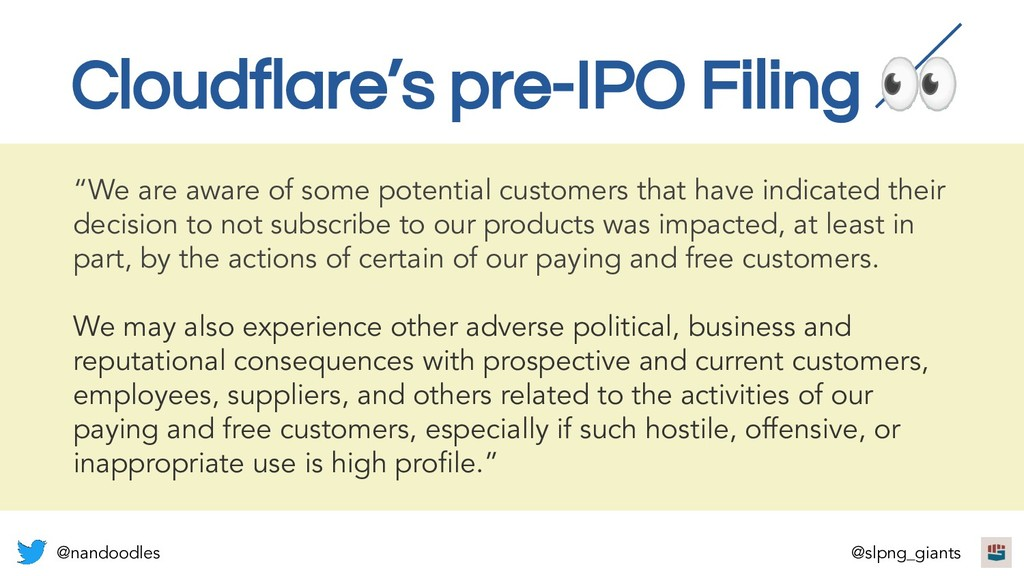 """Cloudflare's pre-IPO Filing  """"We are aware of s..."""