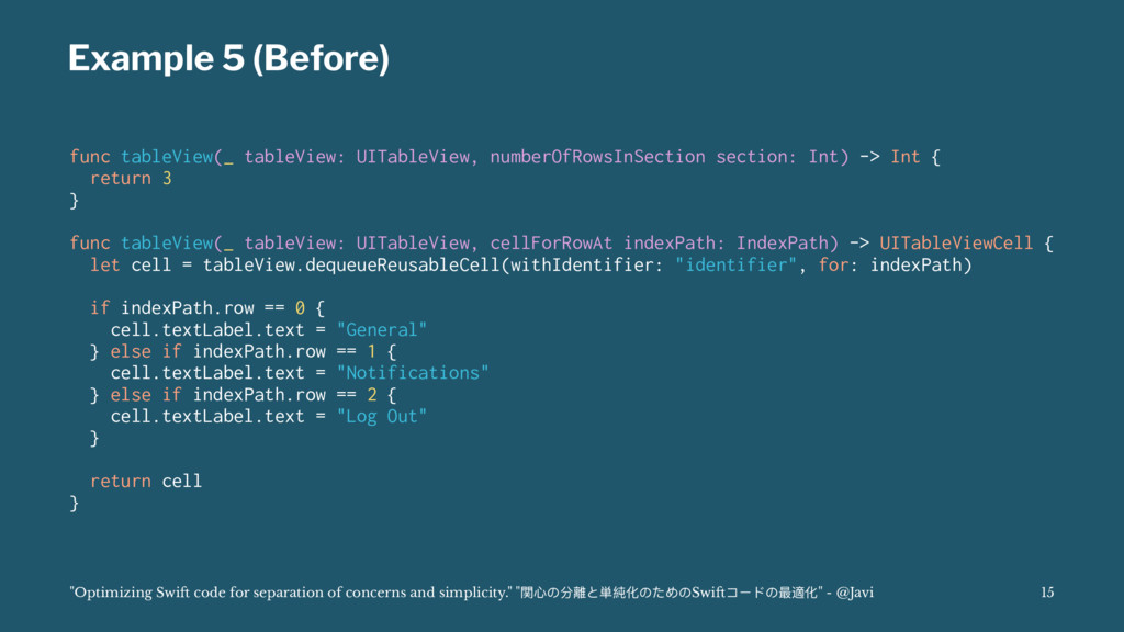 Example 5 (Before) func tableView(_ tableView: ...