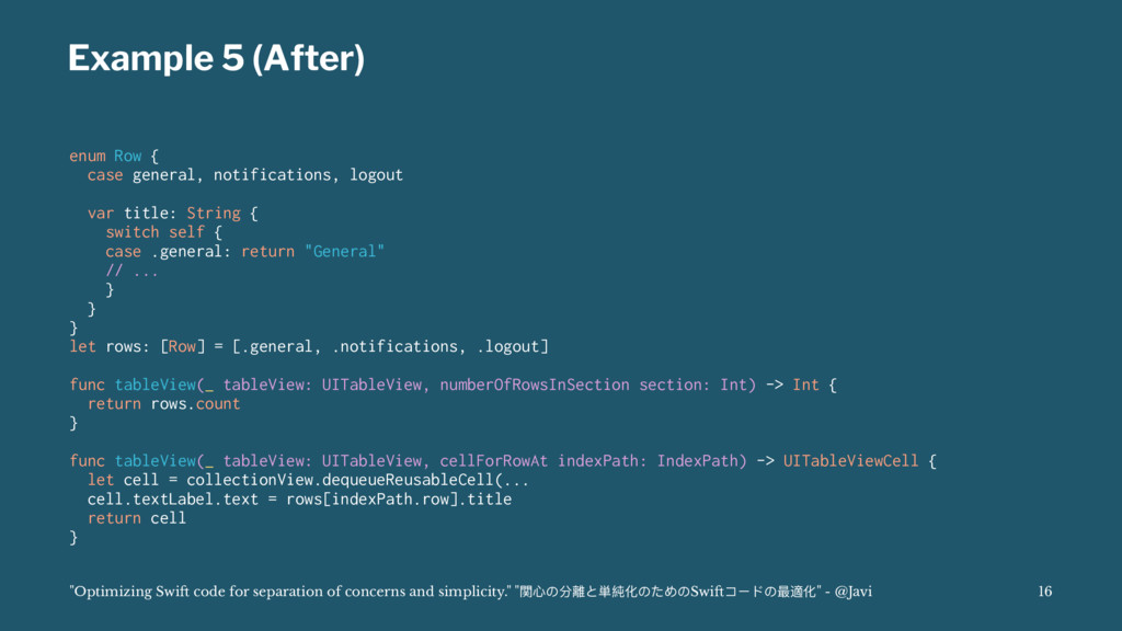 Example 5 (After) enum Row { case general, noti...