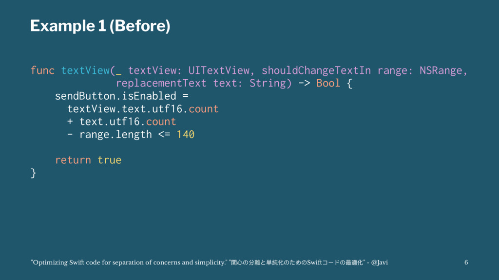 Example 1 (Before) func textView(_ textView: UI...