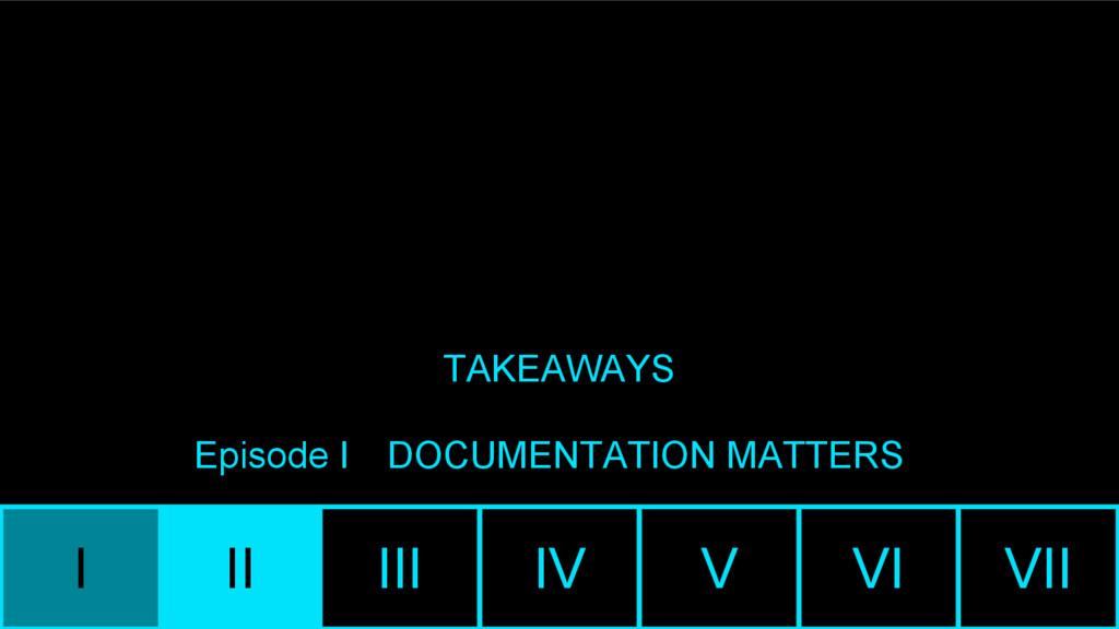 I II III IV V VI VII TAKEAWAYS Episode I DOCUME...