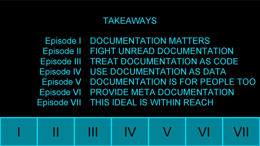 I II III IV V VI VII TAKEAWAYS Episode I Episod...
