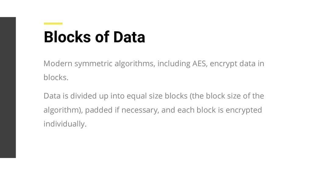 Modern symmetric algorithms, including AES, enc...