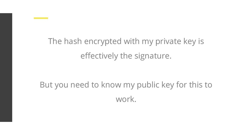 The hash encrypted with my private key is effect...