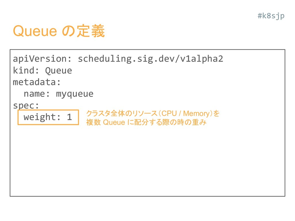 Queue の定義 apiVersion: scheduling.sig.dev/v1alph...