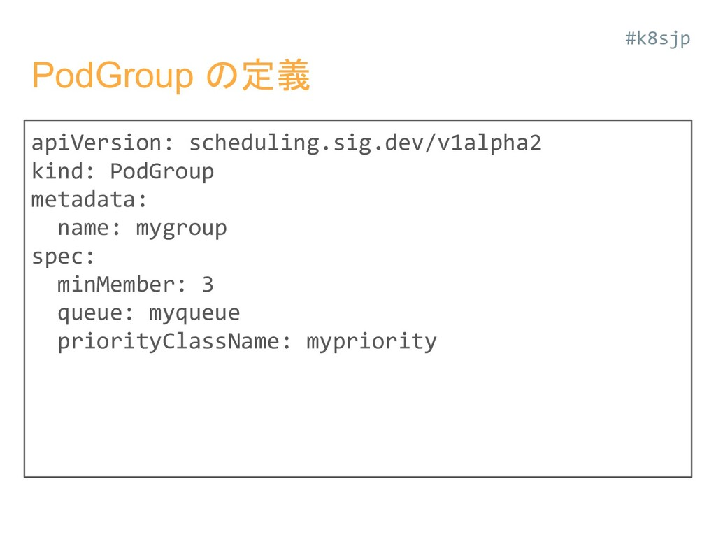 PodGroup の定義 apiVersion: scheduling.sig.dev/v1a...