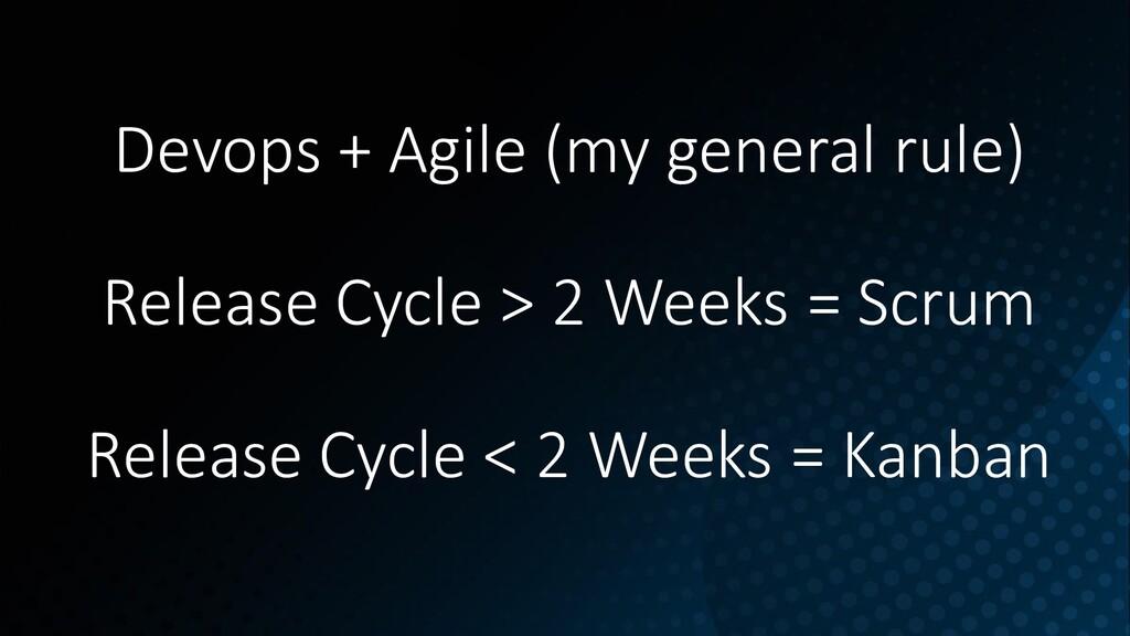 Devops + Agile (my general rule) Release Cycle ...