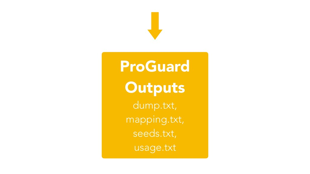 ProGuard Outputs dump.txt, mapping.txt, seeds.t...