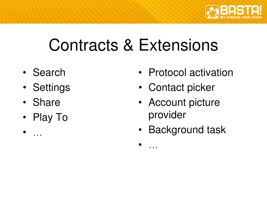 Contracts & Extensions • Search • Settings • Sh...