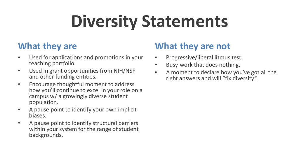 Diversity Statements What they are • Used for a...