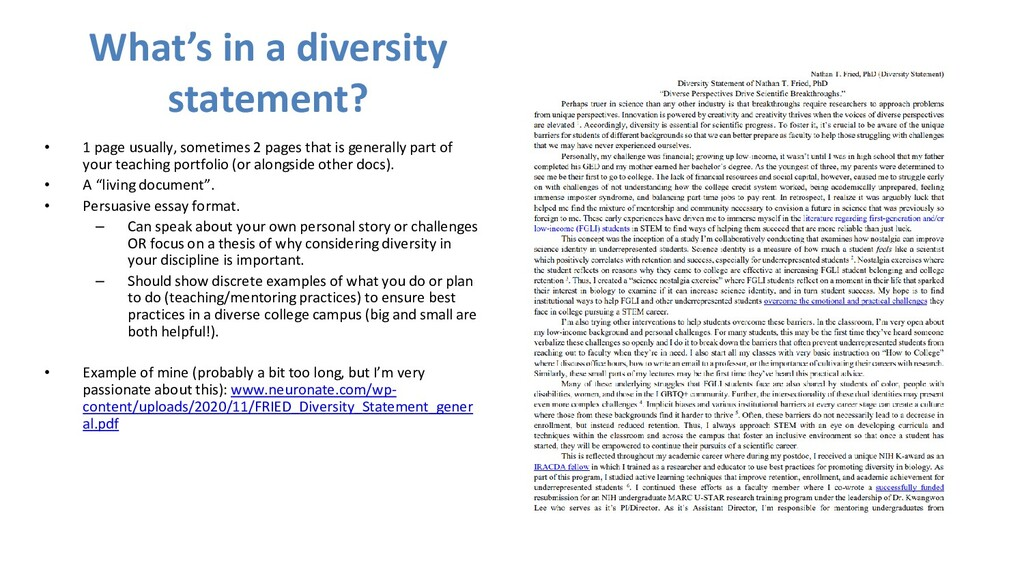 What's in a diversity statement? • 1 page usual...