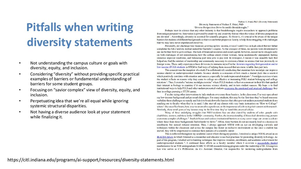 Pitfalls when writing diversity statements • No...