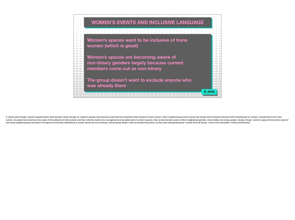 WOMEN'S EVENTS AND INCLUSIVE LANGUAGE WOMEN'S E...