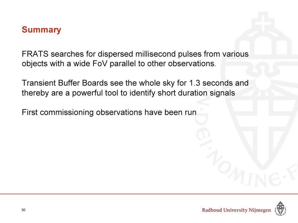 Summary FRATS searches for dispersed millisecon...