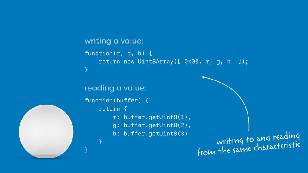 writing a value: function(r, g, b) { return new...