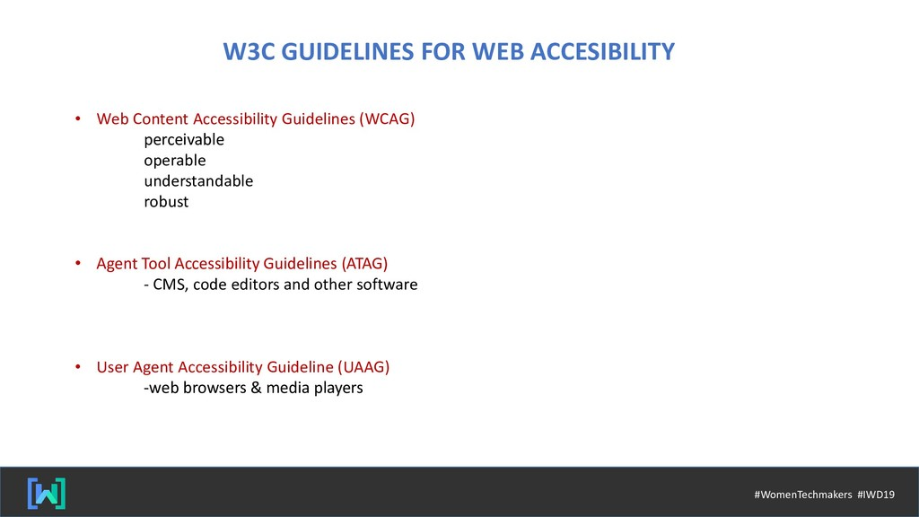 W3C GUIDELINES FOR WEB ACCESIBILITY • Web Conte...