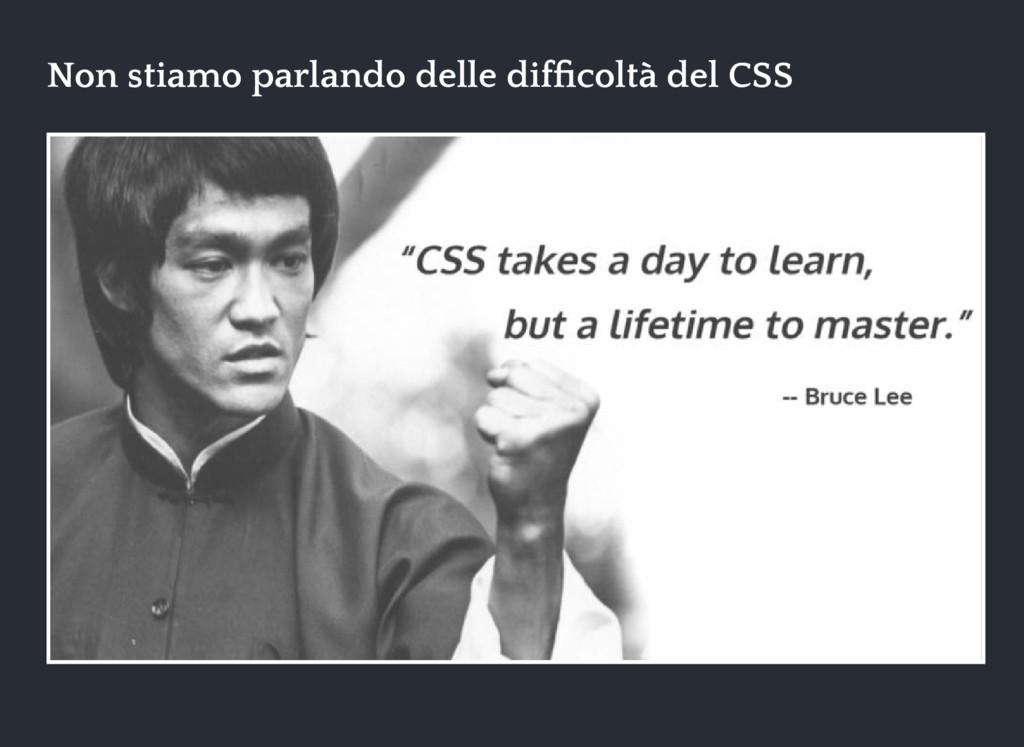 Non stiamo parlando delle difficoltà del CSS