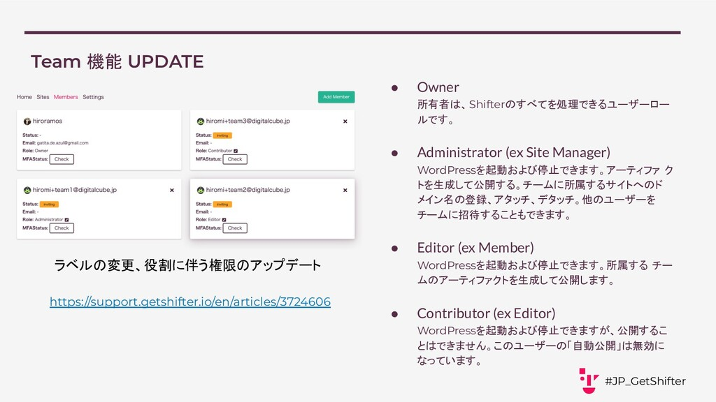 Team 機能 UPDATE #JP_GetShifter https://support.g...