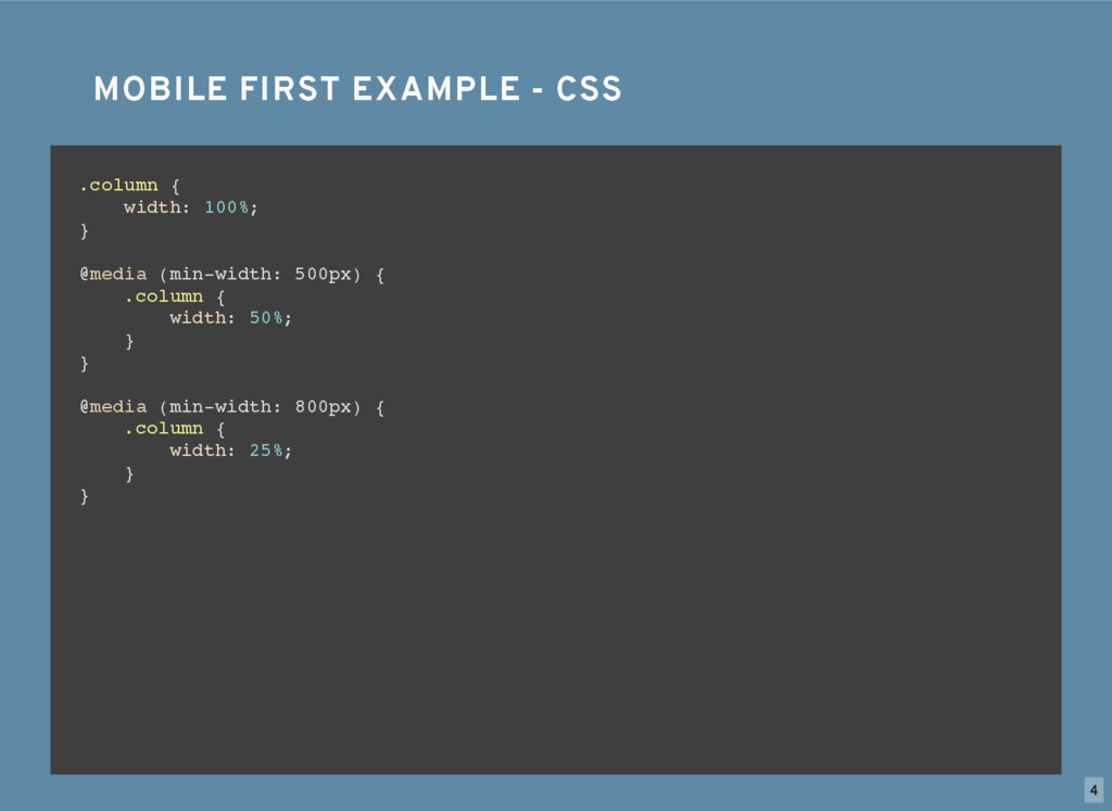 MOBILE FIRST EXAMPLE - CSS MOBILE FIRST EXAMPLE...