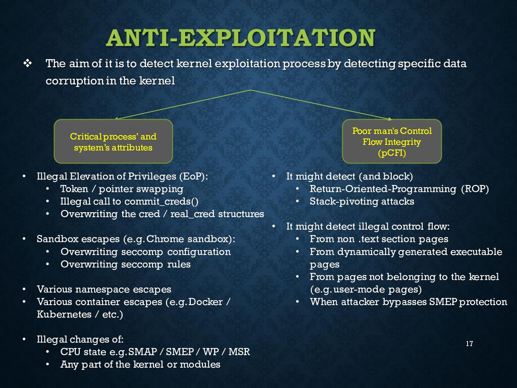 17 ANTI-EXPLOITATION ❖ The aim of it is to dete...
