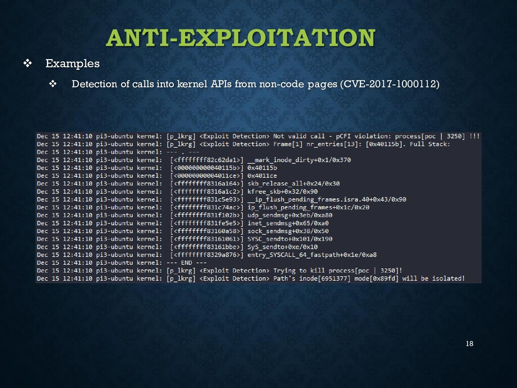 18 ANTI-EXPLOITATION ❖ Examples ❖ Detection of ...