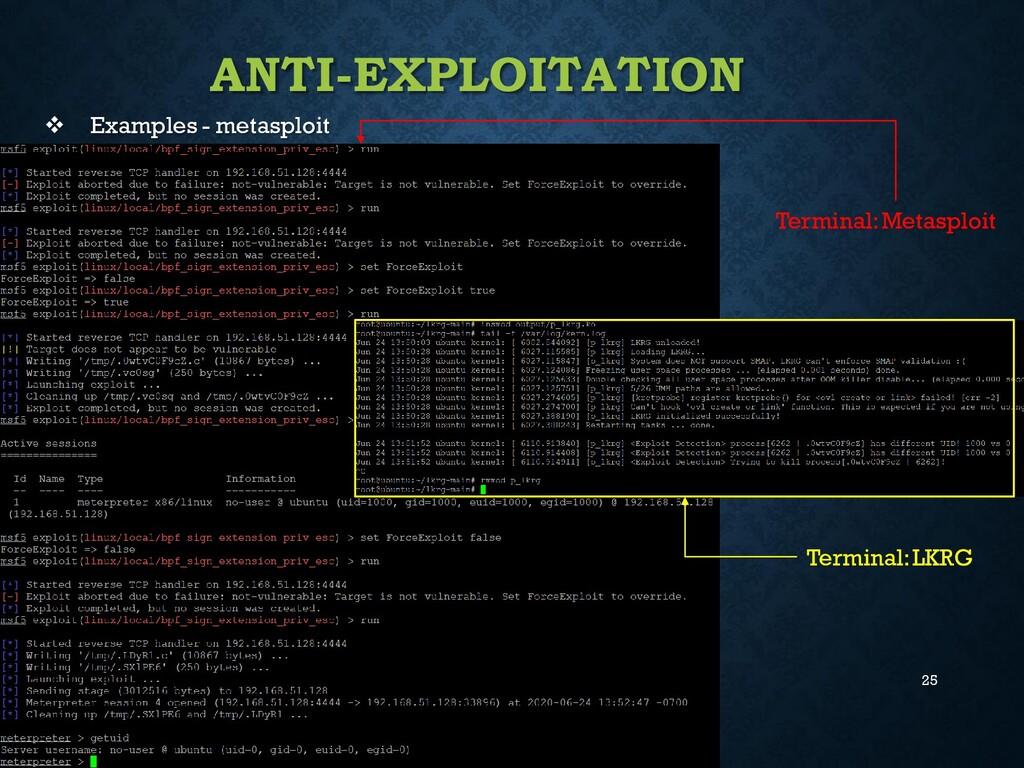 25 ANTI-EXPLOITATION ❖ Examples - metasploit Te...