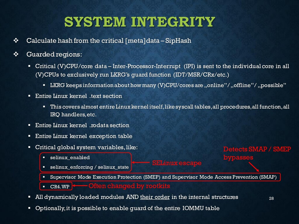 28 SYSTEM INTEGRITY ❖ Calculate hash from the c...