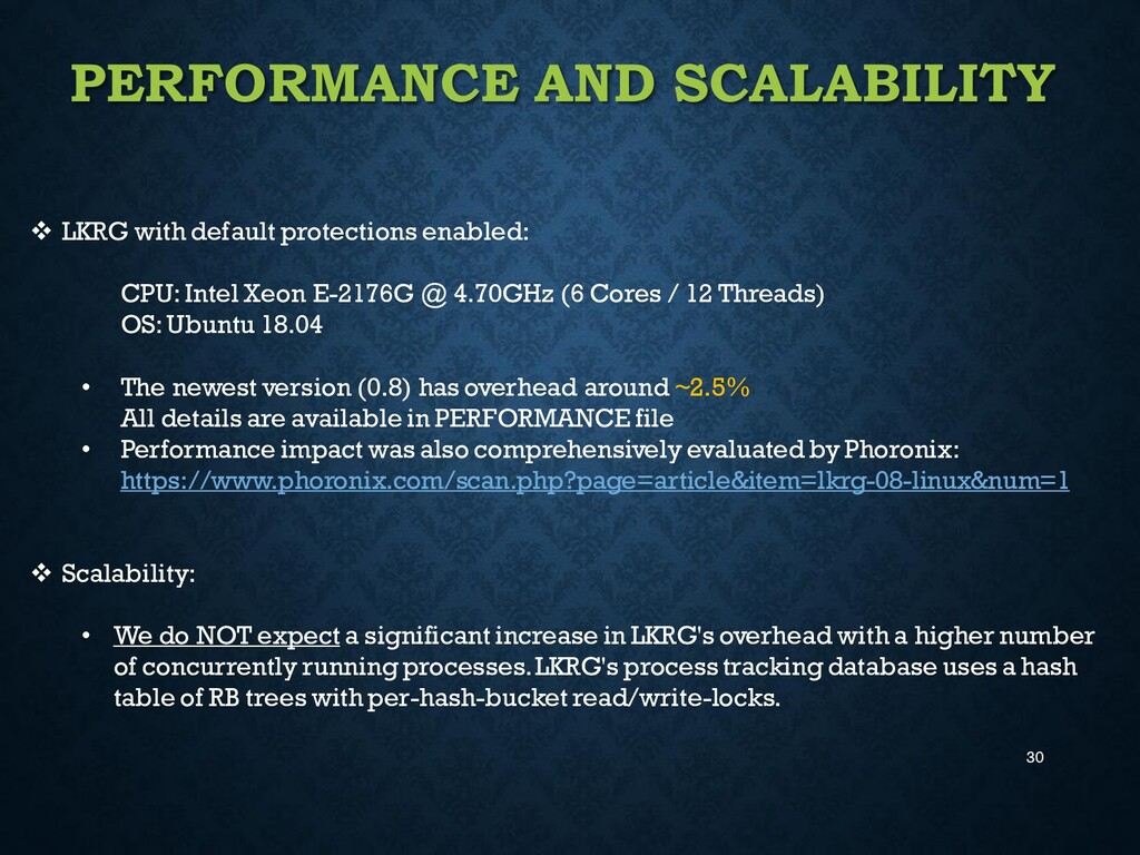 30 PERFORMANCE AND SCALABILITY ❖ LKRG with defa...